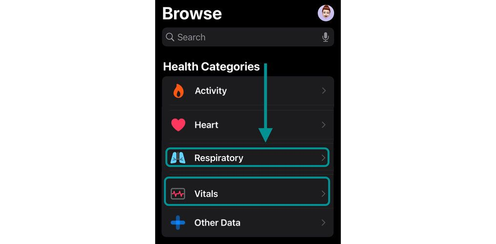 where to find blood oxygen data in the Health app on iPhone