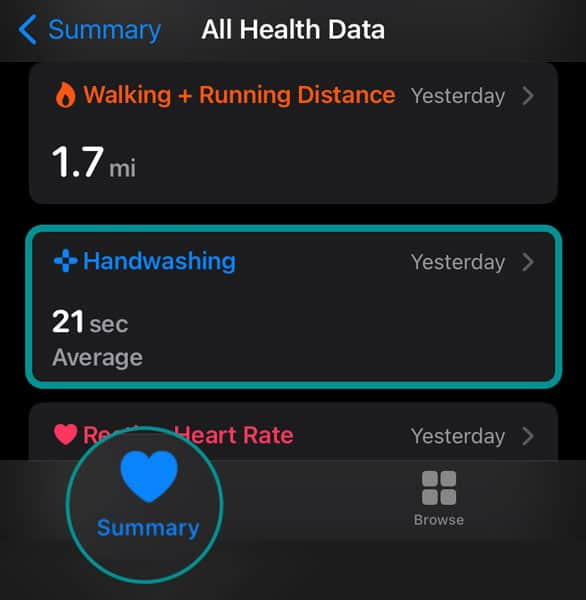 Health app hand washing data in Summary section