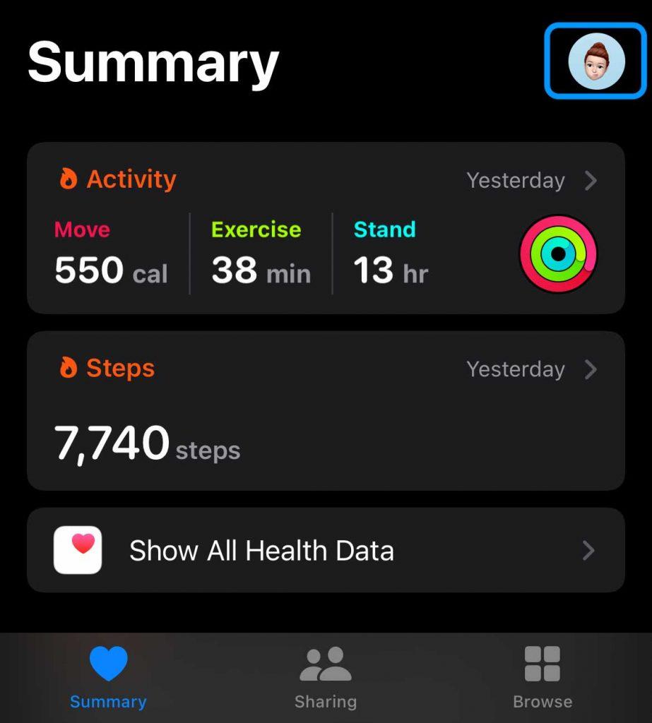 Profile icon in Health app Summary tab