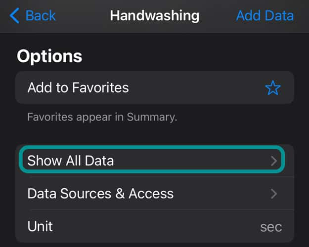 Show All Data for health app on iPhone for handwashing on apple watch