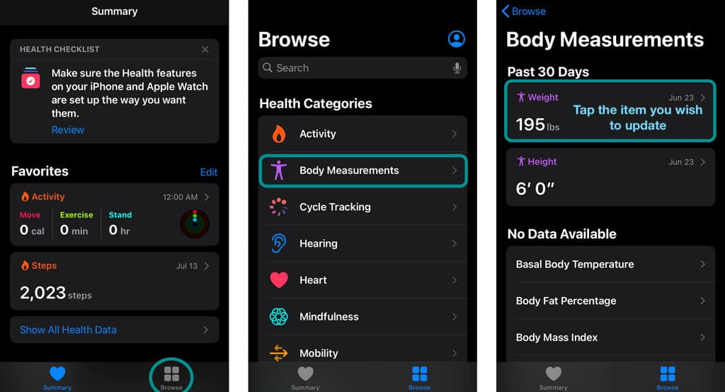 manually change body measurements on iPhone health app for apple watch