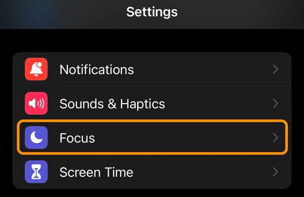 Focus in iPhone Settings app
