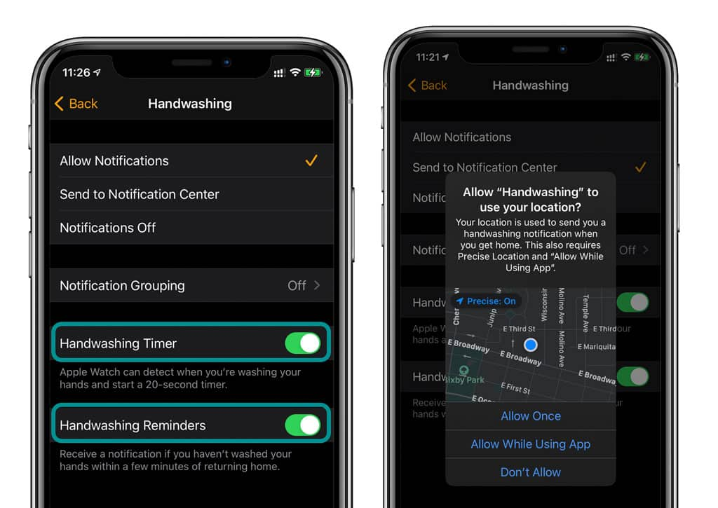 hand washing settings for notifications, reminders, and timers in Watch app for Apple Watch and iPhone