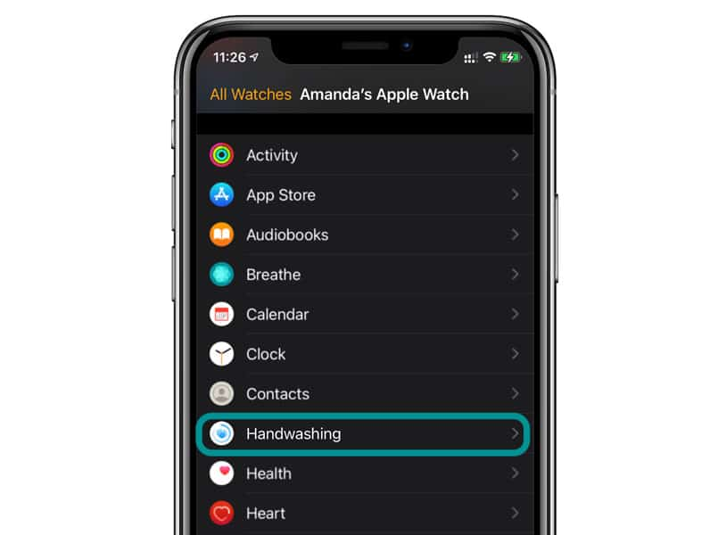 apple watch hand washing feature on iPhone's Watch app