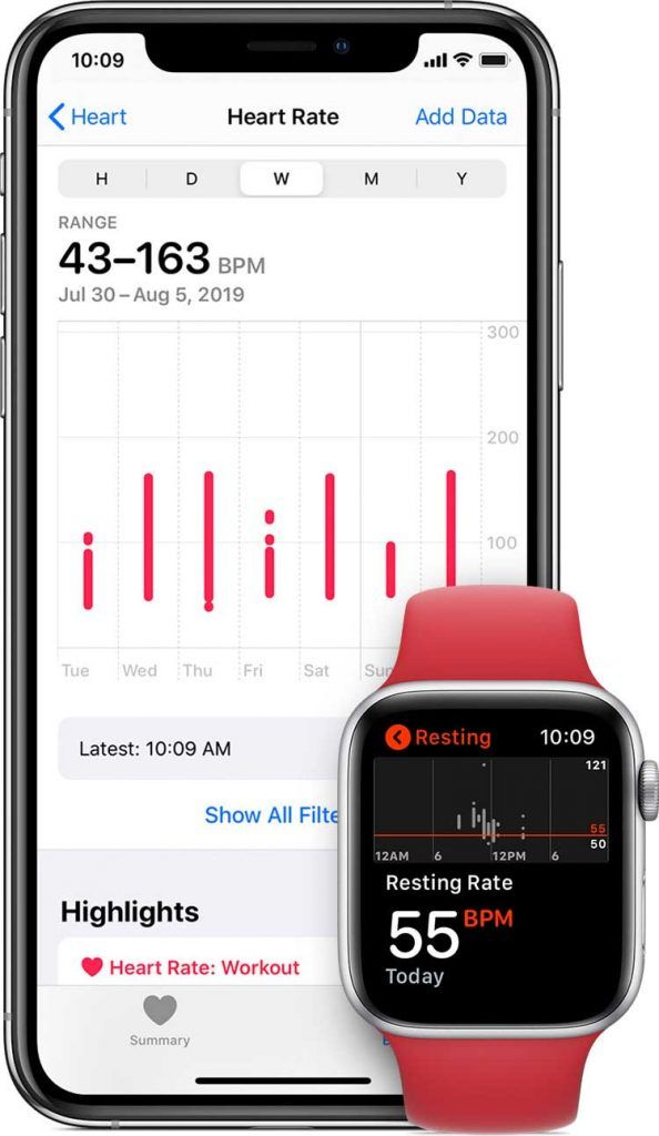 heart rate information on Health app on iPhone