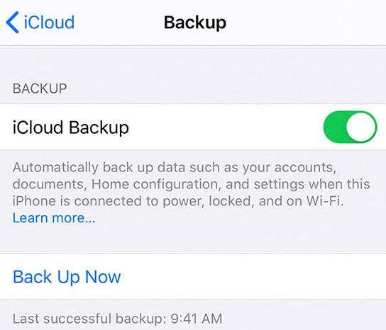 iCloud manually Back Up Now for iOS and iPadOS