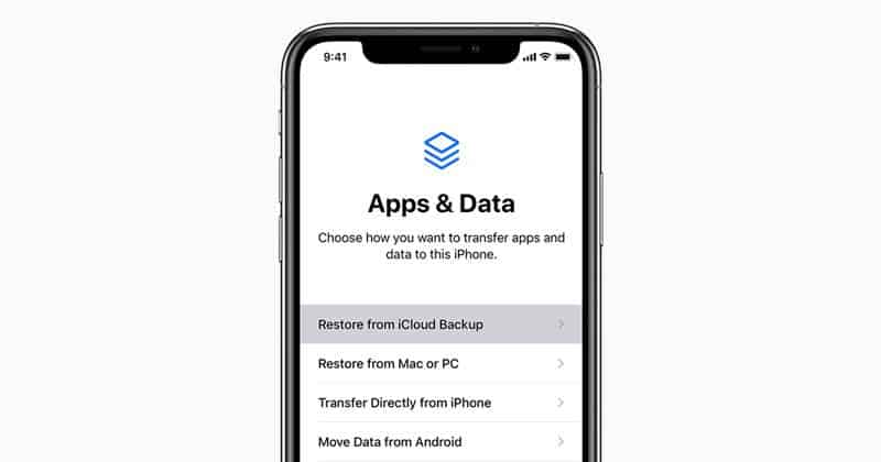 restore iPhone from iCloud backup when setting up iPhone after erasing all content and settings
