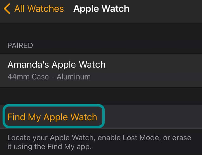 Find My Apple Watch in iPhone Watch app