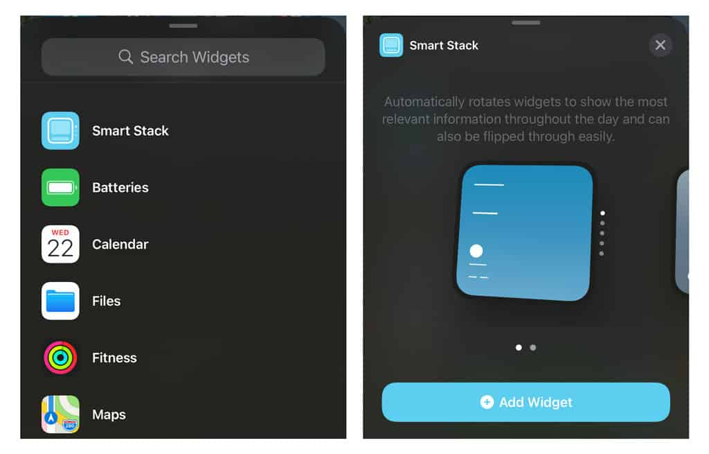 widget smart stack for iPhone and iOS