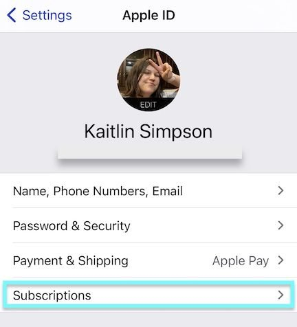 manage subscriptions iPhone