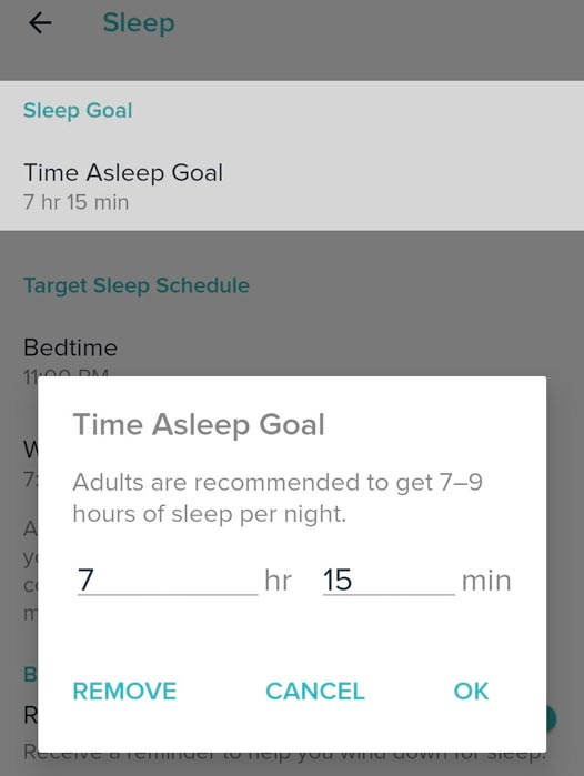 Android Fitbit app remove target sleep goal for time asleep goal