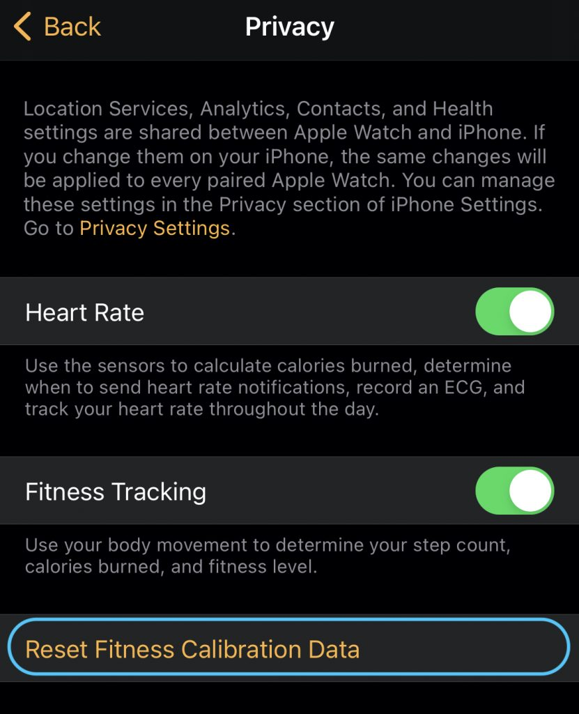 reseting calibration data on iPhone apple watch app