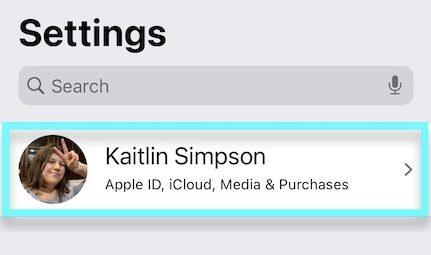apple id in settings app
