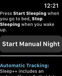 the sleep++ apple watch app