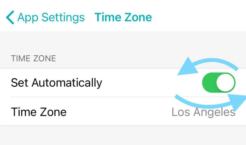 Fitbit app toggle timezone auto setting
