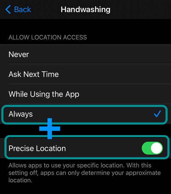 location services settings on iPhone for Apple Watch hand washing feature