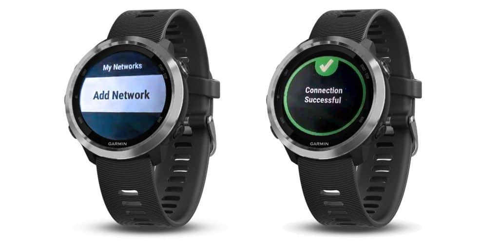 add wifi network on Garmin smartwatch and get message that connection is successful