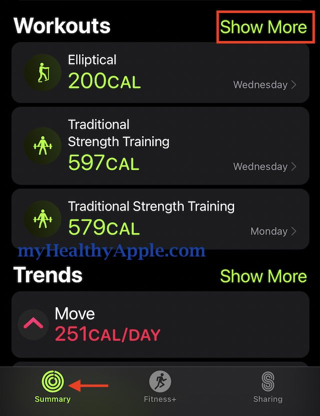 workout analysis for Apple Watch