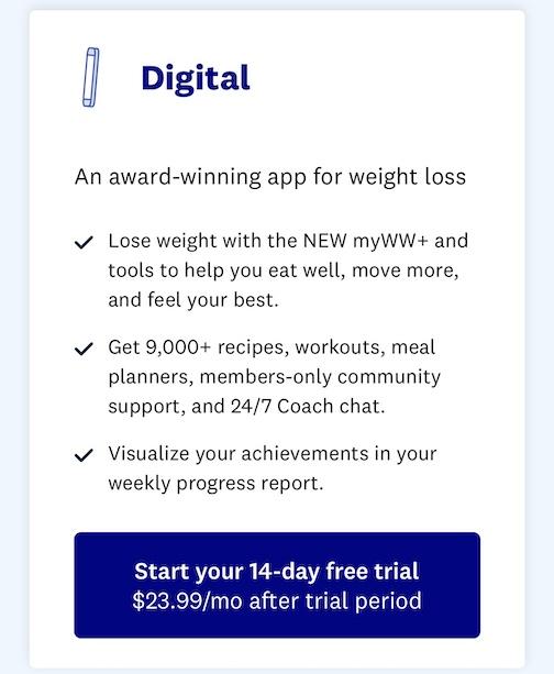 weight watchers digital